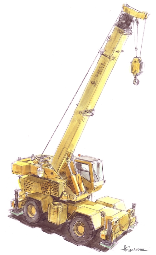 bell harbor, crane, grove crane, wheeled crane, sketch, watercolor, colored pencil, idsa conference, intrigue chocolates, pacari chocolates, industrial design, talk, speech, mark selander, construction machine